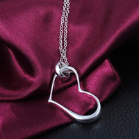Brass Heart Pendants, real silver plated, nickel, lead & cadmium free, 38x21mm, Hole:Approx 5mm, 50PCs/Lot, Sold By Lot