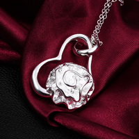 Brass Heart Pendants, real silver plated, nickel, lead & cadmium free, 41x23mm, Hole:Approx 3mm, 50PCs/Lot, Sold By Lot