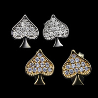 Brass Stud Earring, Heart, plated, micro pave cubic zirconia, more colors for choice, nickel, lead & cadmium free, 12x10mm, 15Pairs/Lot, Sold By Lot