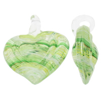 Fashion Lampwork Pendants, Heart, handmade, green, 38x46x15mm, Hole:Approx 6mm, 10PCs/Bag, Sold By Bag