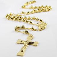 Четки Ожерелье, титан, Инсус крест, плакирован золотом, христианское ювелирное изделие & твист овал, 6mm, 31x160mm, Продан через Приблизительно 27.5 дюймовый Strand