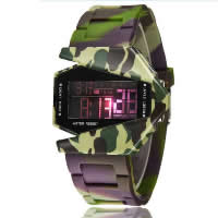 Unisex Wrist Watch, Silicone, with plastic dial, stainless steel buckle, LED & waterproof & luminated, 49.77mm, 22.51mm, Length:Approx 10 Inch, 20PCs/Lot, Sold By Lot
