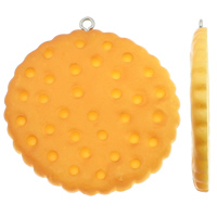 Resin Pendant, with Iron, Biscuit, solid color, yellow, 42x46x4mm, Hole:Approx 2mm, 100PCs/Bag, Sold By Bag