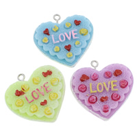 Resin Pendant, with Iron, Cake, word love, solid color, more colors for choice, 39x38x12mm, Hole:Approx 2mm, 100PCs/Bag, Sold By Bag