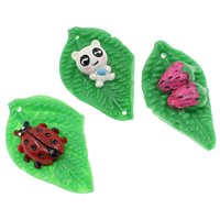 Resin Pendant, mixed & solid color, 34x52x10mm, Hole:Approx 2mm, 100PCs/Bag, Sold By Bag