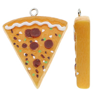 Resin Pendant, with Iron, Cake, solid color, multi-colored, 31x39x8mm, Hole:Approx 2mm, 100PCs/Bag, Sold By Bag
