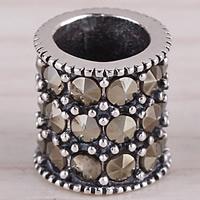 Koperen pijp Beads, Messing, Kolom, antiek zilver plated, met strass & groot gat, lood en cadmium vrij, 8mm, Gat:Ca 6mm, 5pC's/Bag, Verkocht door Bag