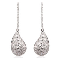 Cubic Zirconia Micro Pave Brass Earring, Teardrop, platinum plated, micro pave cubic zirconia, clear, nickel, lead & cadmium free, 12x40mm, Sold By Pair