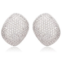Cubic Zirconia Micro Pave Brass Earring, platinum plated, micro pave cubic zirconia, nickel, lead & cadmium free, 18x24mm, Sold By Pair