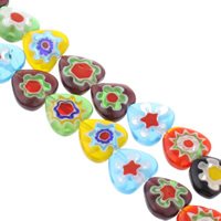 Millefiori Glass Beads, Heart, handmade, different size for choice, mixed colors, Hole:Approx 1mm, Length:Approx 13 Inch, Sold By Bag