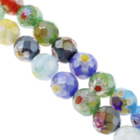 Millefiori Glass Beads, Round, handmade, different size for choice & faceted, mixed colors, Hole:Approx 1mm, Length:Approx 13.5 Inch, Sold By Bag