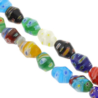 Millefiori Glass Beads, Twist, handmade, different size for choice, mixed colors, Hole:Approx 1mm, Length:Approx 15.5 Inch, Sold By Bag