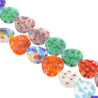Millefiori Glass Beads, Heart, handmade, different size for choice, mixed colors, Hole:Approx 1mm, Length:Approx 14 Inch, Sold By Bag
