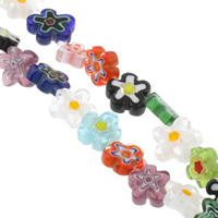 Millefiori Glass Beads, Flower, handmade, mixed colors, 10-15mm, Hole:Approx 1mm, Length:Approx 13.5 Inch, 10Strands/Bag, Sold By Bag