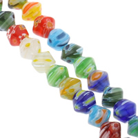 Millefiori Glass Beads, Bicone, handmade, mixed colors, 10x8mm, Hole:Approx 1mm, Length:Approx 15.5 Inch, 10Strands/Bag, Approx 48PCs/Strand, Sold By Bag