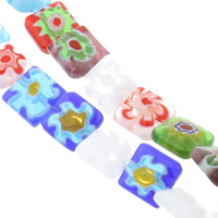 Millefiori Glass Beads, Square, handmade, different size for choice, mixed colors, Hole:Approx 1mm, Length:Approx 14 Inch, Sold By Bag