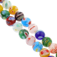 Millefiori Glass Beads, Round, handmade, different size for choice, mixed colors, Hole:Approx 1mm, Length:Approx 14 Inch, Sold By Bag