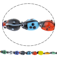 Animal Lampwork Beads, Ladybug, handmade, different size for choice, mixed colors, Hole:Approx 1mm, Length:Approx 10 Inch, Sold By Bag