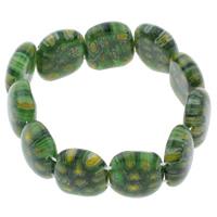 Миллефиори браслет, с эластичная нить, Прямоугольная форма, Связанный вручную, вышитый бисером браслет, зеленый, 20x17x7mm, длина:Приблизительно 7.5 дюймовый, 10пряди/сумка, продается сумка