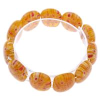 Миллефиори браслет, с эластичная нить, Прямоугольная форма, Связанный вручную, вышитый бисером браслет, красно-оранжевый, 21x17x8mm, длина:Приблизительно 7.5 дюймовый, 10пряди/сумка, продается сумка