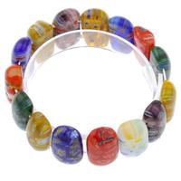Миллефиори браслет, с эластичная нить, Прямоугольная форма, Связанный вручную, вышитый бисером браслет, разноцветный, 23x11x7mm, длина:Приблизительно 7.5 дюймовый, 10пряди/сумка, продается сумка