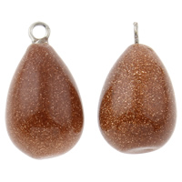 Goldstone Pendant, with Iron, Teardrop, 12x21mm, Hole:Approx 1.5mm, 10PCs/Bag, Sold By Bag