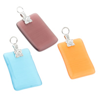 Cats Eye Pendants, with Iron, Rectangle, mixed colors, 14x22x3mm, Hole:Approx 3mm, 10PCs/Bag, Sold By Bag