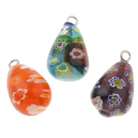 Millefiori Glass Pendant Jewelry, with Iron, Teardrop, handmade, mixed colors, 12x22mm, Hole:Approx 1.5mm, 10PCs/Bag, Sold By Bag