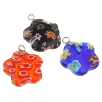 Millefiori Glass Pendant Jewelry, with Iron, Flower, handmade, different size for choice, mixed colors, Hole:Approx 1.5mm, 10PCs/Bag, Sold By Bag