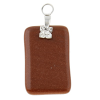 Natural Goldstone Pendants, with Iron, Rectangle, 15x31x3mm, Hole:Approx 2mm, 10PCs/Bag, Sold By Bag