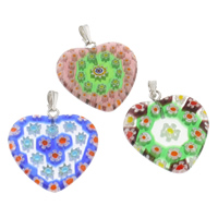 Millefiori Glass Pendant Jewelry, with Iron, Heart, handmade, mixed colors, 24x32x3mm, Hole:Approx 1x5mm, 10PCs/Bag, Sold By Bag