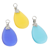 Cats Eye Pendants, with Iron, Teardrop, mixed colors, 14x29x3mm, Hole:Approx 3mm, 10PCs/Bag, Sold By Bag