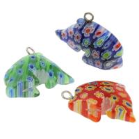 Szklany wisiorek Millefori, Millefiori szklane, ze żelazo, Delfin, Ręcznie robione, mieszane kolory, 15x27x9mm, otwór:około 2mm, 10komputery/torba, sprzedane przez torba
