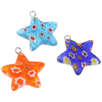 Millefiori Glass Pendant Jewelry, with Iron, Star, handmade, mixed colors, 21x23x3.50mm, Hole:Approx 1.5mm, 10PCs/Bag, Sold By Bag