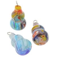 Szklany wisiorek Millefori, Millefiori szklane, ze żelazo, Tykwa, Ręcznie robione, mieszane kolory, 12x23mm, otwór:około 1.5mm, 10komputery/torba, sprzedane przez torba