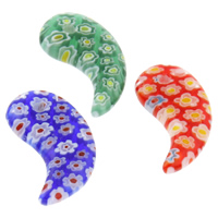 Millefiori Glass Pendant Jewelry, Horn, handmade, mixed colors, 14x23x4mm, Hole:Approx 1mm, 10PCs/Bag, Sold By Bag