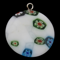 Millefiori Glass Pendant Jewelry, with Iron, Flat Round, handmade, white, 24x27x5mm, Hole:Approx 2mm, 10PCs/Bag, Sold By Bag
