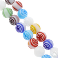 Millefiori Glass Beads, Round, handmade, different size for choice, mixed colors, Hole:Approx 1mm, Length:Approx 14.5 Inch, Sold By Bag