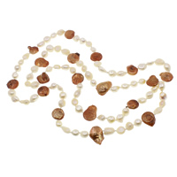 Natural Freshwater Pearl Long Necklace, two tone, 10-25mm, Sold Per Approx 48.5 Inch Strand