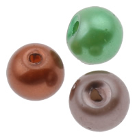 Glass Pearl Beads, Round, mixed colors, 5x6mm, Hole:Approx 1.5mm, 10Bags/Lot, Approx 150/Bag, Sold By Lot