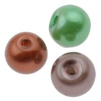 الزجاج اللؤلؤ خرزة, جولة, الألوان المختلطة, 5x6mm, حفرة:تقريبا 1.5mm, 10أكياس/الكثير, تقريبا 150/حقيبة, تباع بواسطة الكثير