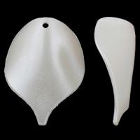 Tworzywa ABS perła Wisiorek, Liść, biały, 29x40x10mm, otwór:około 2mm, 20komputery/torba, sprzedane przez torba