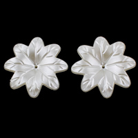 ABS Plastic Bead Cap, Flower, imitation pearl, white, 38x7mm, Hole:Approx 1mm, 20PCs/Bag, Sold By Bag