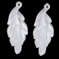 Tworzywa ABS perła Wisiorek, Liść, biały, 16x44x3mm, otwór:około 1mm, 30komputery/torba, sprzedane przez torba