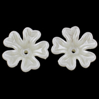 ABS Plastic Bead Cap Flower imitation pearl white 17x6mm Hole:Approx 1mm 50PCs/Bag