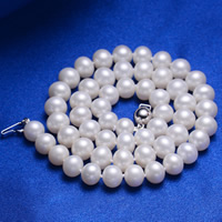 Natural Freshwater Pearl Necklace, brass box clasp, Potato, white, 7-8mm, Sold Per Approx 17 Inch Strand