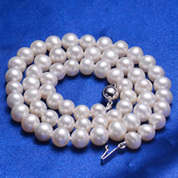 Natural Freshwater Pearl Necklace, brass box clasp, Potato, white, 6-7mm, Sold Per Approx 17 Inch Strand