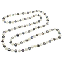Natural Freshwater Pearl Long Necklace, Potato, two tone, 9-12mm, Sold Per Approx 45.5 Inch Strand