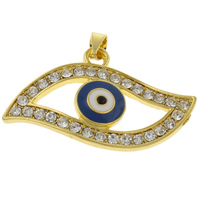 Evil Eye Pendants, Zinc Alloy, gold color plated, enamel & with rhinestone, nickel, lead & cadmium free, 33x20x4mm, Hole:Approx 3mm, 10PCs/Bag, Sold By Bag
