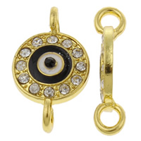 Evil Eye Connector, Zinc Alloy, gold color plated, enamel & with rhinestone & 1/1 loop, nickel, lead & cadmium free, 13x22x3mm, Hole:Approx 2mm, 10PCs/Bag, Sold By Bag